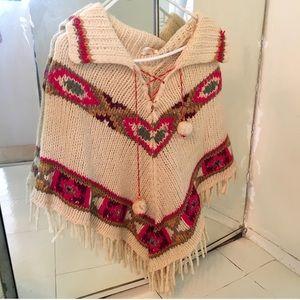 Vintage Wool Poncho w Colorful Aztec-like Pattern